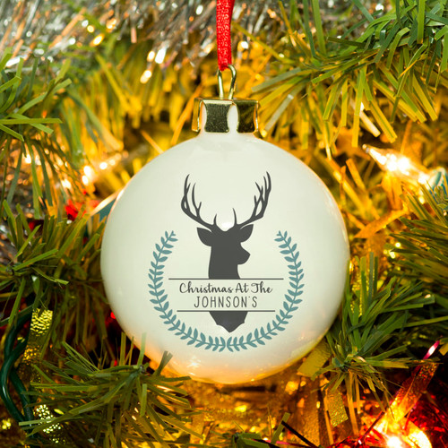 Add a personal touch to the tree this year with this lovely bone china bauble. Simply add your chosen personalisation of up to 20 characters inside the chic design. Please note: 'Christmas at the' is fixed text. The long lasting decoration can be used year after year. Dimensions: 6cm x 6cm.
