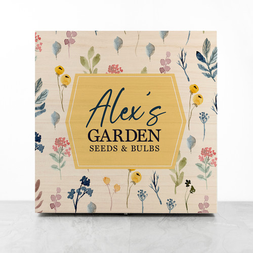 Do you know a keen gardener or vegetable grower? Our gorgeous wooden garden accessories boxes are the perfect gift for organising and storing their favourite bits and bobs. Personalise with their name on a variety of fun and bright designs. A thoughtful and practical present for any green fingered friend or loved one.   Made from solid pine wood this small storage box is a handy addition for your greenhouse or garden shed.