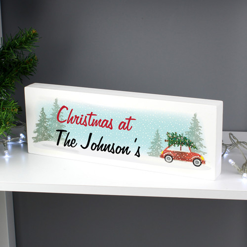 This Personalised Driving home for Christmas Wooden Block Sign is the perfect way to bring Christmas cheer into the home.  This sign can be personalised with any message over 2 lines up to 20 characters per line.  Please note all text will appear as entered. Please avoid using block capitals as this may make the personalisation hard to read.  Ideal for placing on a mantelpiece or shelf.  Please note that these items are made from solid wood and therefore may contain some imperfections due to their natural material.  Ideal for Christmas