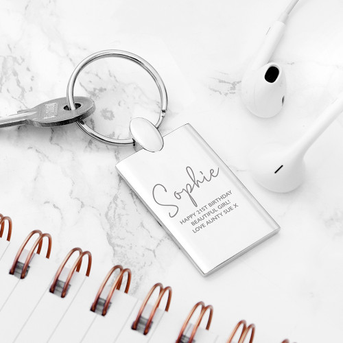 Show your appreciation with our lovely personalised keyring, engraved with their name and a sentimental message from yourself. A great gift for birthdays, anniversaries, retirement or just as a thank you for someone special!   A gorgeous keepsake gift which they will carry with them and cherish.   Engrave a name and message on the front of the keyring.   Dimensions:  L: 8.1cm W: 2.8cm D: 4cm