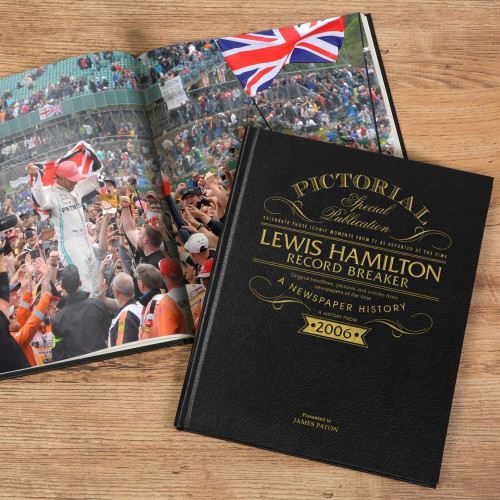 Beginning with news coverage announcing Hamilton joining the McLaren team in November 2006 to become partner to two-time and defending World Champion Fernando Alonso. Hamilton went on to earn a podium place in his 2007 debut race, with more records to come. Fantastic pictorial sections are found throughout the book, a must-have for any Lewis Hamilton fan and includes coverage up until the present season. History in the making, they can own a book documenting Lewis Hamilton's World record season. They'll love seeing their name foil embossed on the luxury black leather colour as well as their name and your dedication to them on the opening page of the book.  The 165 (approx.) pages of this bespoke book have been collated by our specialist archive and who have selected the articles to be reprinted in their full original colours – no edits, no amendments, just history as it happened. Simply add your F1 fan's name (up to 25 characters), and a message of up to 150 characters (5 lines of 30 characters). Included in the price is also our special 'Remember When' gift box to make it a truly memorable gift.