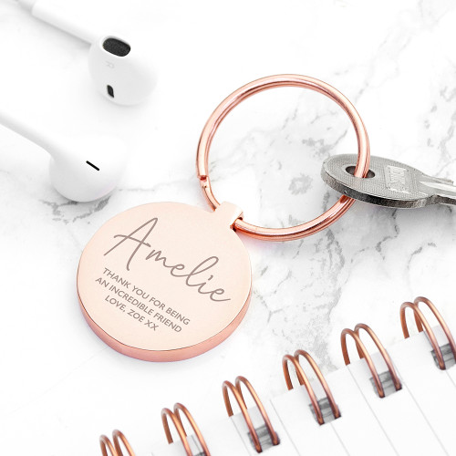 Show your appreciation with our lovely personalised keyring, engraved with their name and a sentimental message from yourself. A great gift for birthdays, anniversaries, retirement or just as a thank you for someone special!   A gorgeous keepsake gift which they will carry with them and cherish.   Engrave a name and message on the front of the keyring.   Available in Silver or Rose Gold.  Dimensions:  L: 7.1cm W: 3.5cm D: 0.5cm