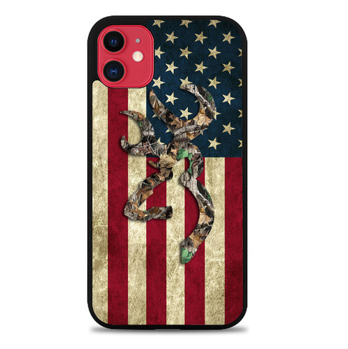 Browning Deer Real Tree Camo USA Flag L1395 iPhone 11 Case