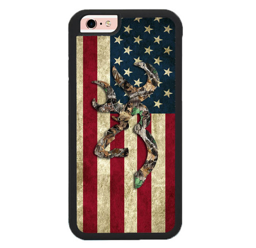 Browning Deer Real Tree Camo USA Flag L1395 iPhone 6 , iPhone 6S Case