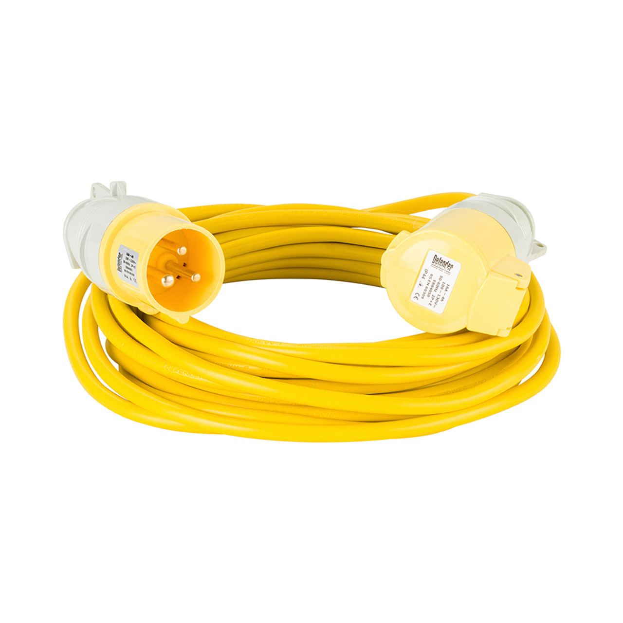 Defender 10M Extension Lead - 16A 1 5mm Cable - Yellow 110V