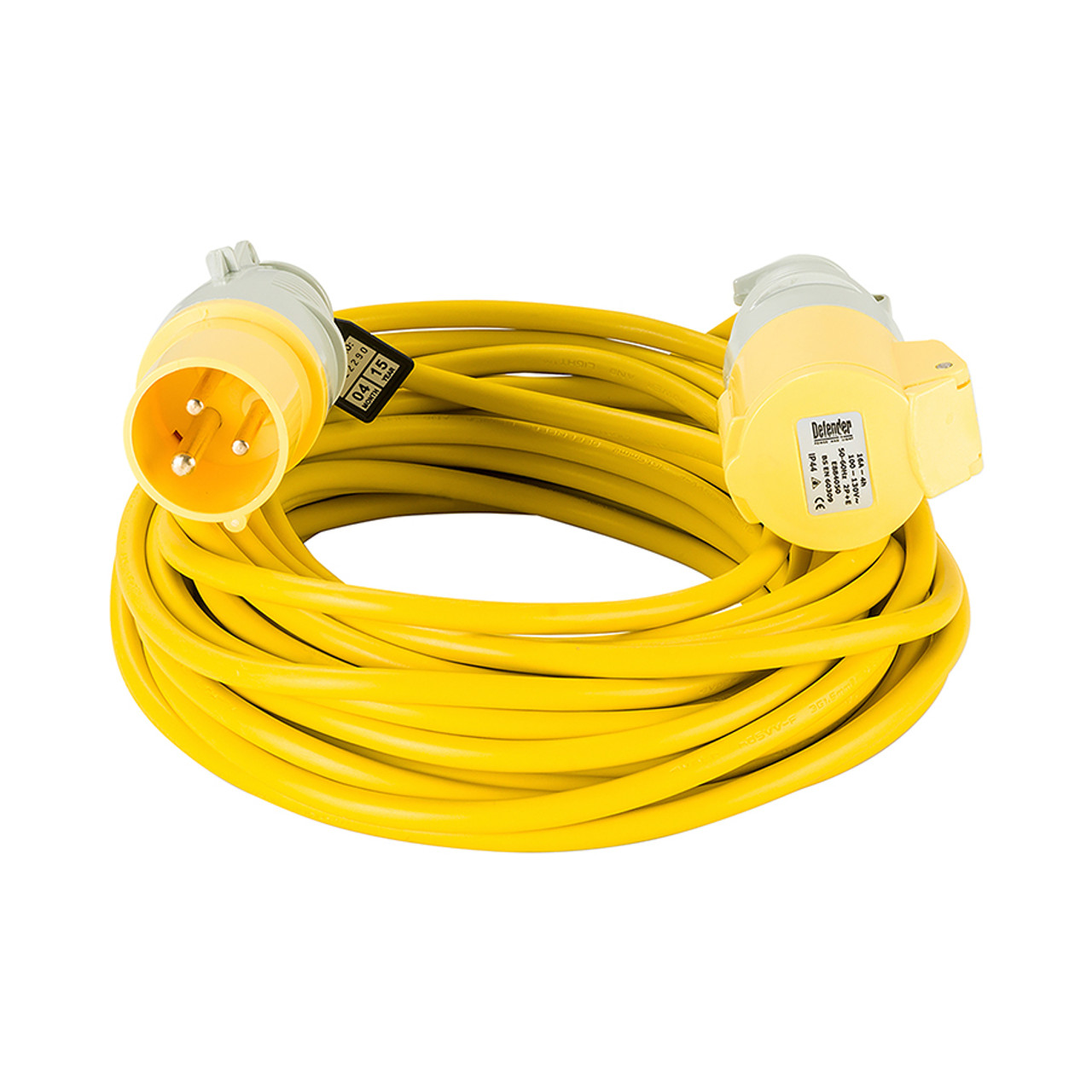 Defender 14M Extension Lead - 16A 2 5mm Cable - Yellow 110V