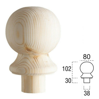 Pine Ball Cap For Stair Newel post