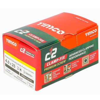 Timco C2 Clamp-Fix Multi-Purpose Premium Countersunk Gold Woodscrews 4.0 x 25mm (200 Box) (40025C2C)