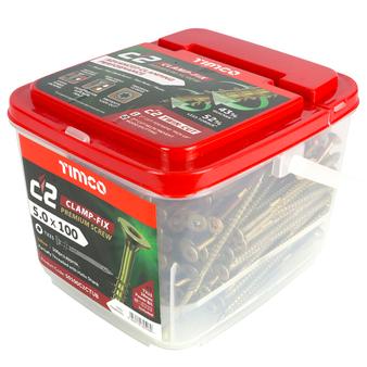 Timco C2 Clamp-Fix Multi-Purpose Premium Countersunk Gold Woodscrews 5.0 x 100mm (300 Tub) (50100C2CTUB)