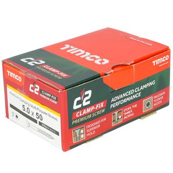 Timco C2 Clamp-Fix Multi-Purpose Premium Countersunk Gold Woodscrews 5.0 x 50mm (200 Box) (50050C2C)