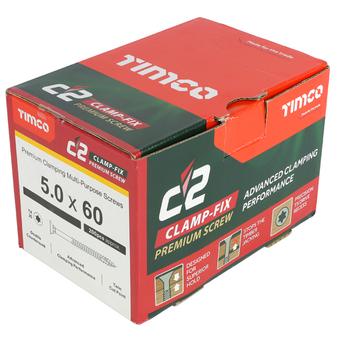 Timco C2 Clamp-Fix Multi-Purpose Premium Countersunk Gold Woodscrews 5.0 x 60mm (200 Box) (50060C2C)