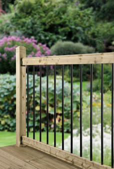Cheshire Mouldings Traditional Black Railing Kit - Treated Pine & Metal