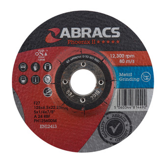 Abracs Phoenix II 125mm x 6mm x 22mm DPC Metal Grinding Disc (Pack of 10)
