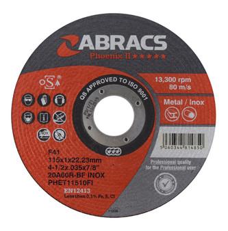 Abracs Phoenix II Extra Thin Cutting Disc 115mm x 1.0mm x 22mm (Pack of 10)