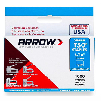 "Arrow T50 Stainless Staples 8mm 5/16"" (1000 Box) (A505SS1)"