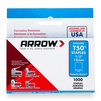 "Arrow T50 Stainless Staples 12mm 1/2"" (1000 Box) (A508SS1)"