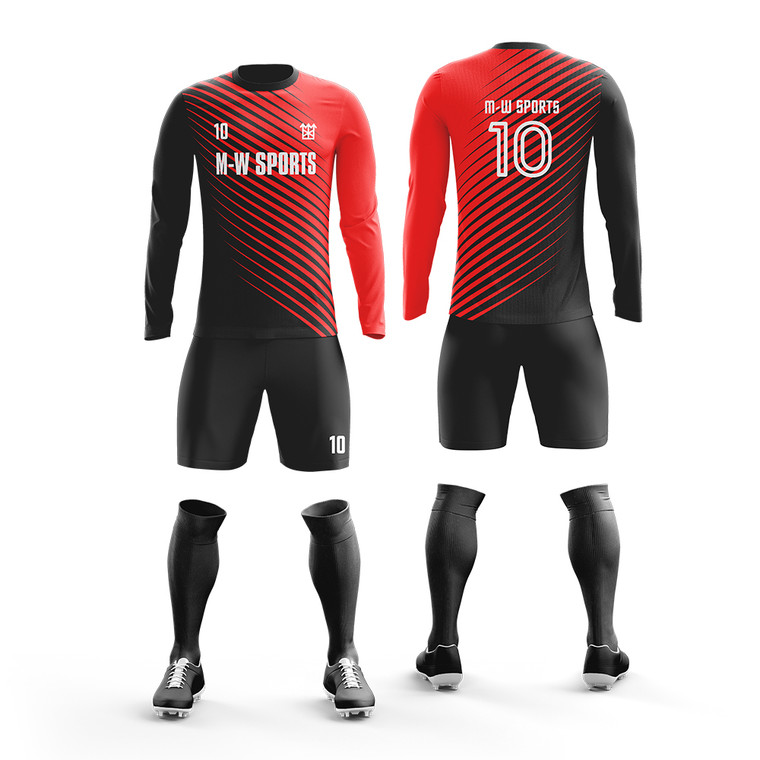 Custom Full Sublimation Soccer Uniform add with team name,logo, number long sleeve uniforms