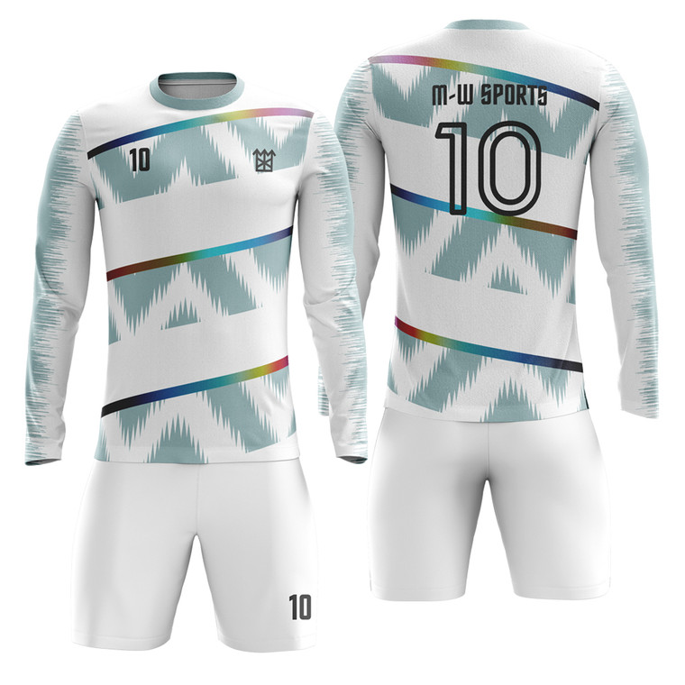 Custom Factory Soccer Jerseys Team Wholesale Sportswear Sublimation long sleeve Football Jerseys add with logo, name, number