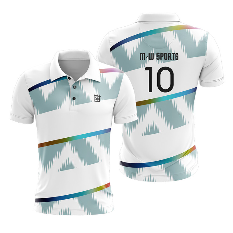 M-W Sports Custom Best 100% Polyester White Color Training Shirts Sublimation Polo Wears