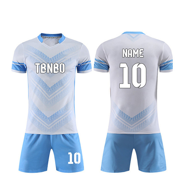 Sky Blue Pattern Custom Soccer Jersey team your print your logo name