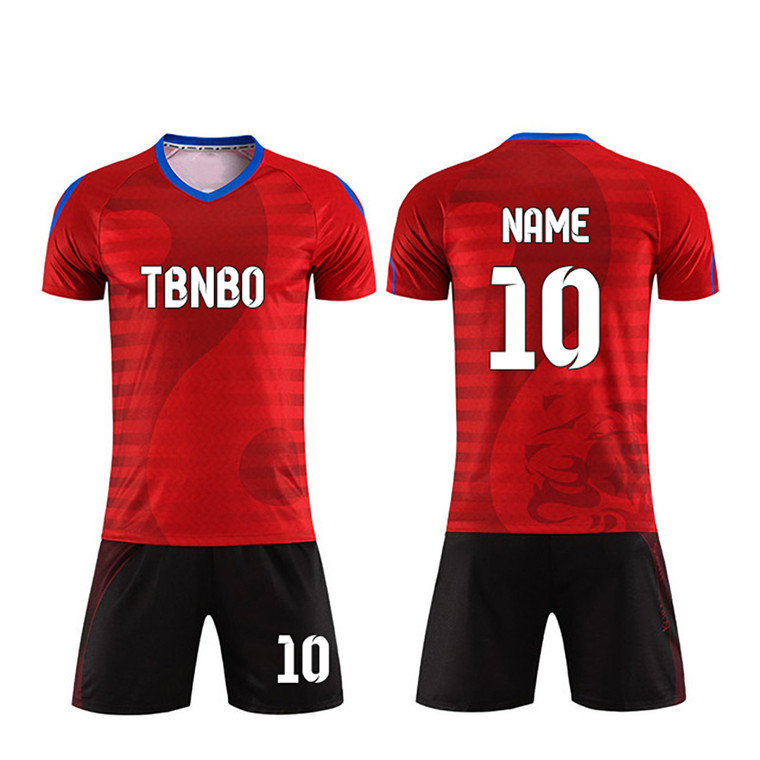 Blue/ Red Color Shiny Custom Soccer Jerseys Print logo your name number plus size