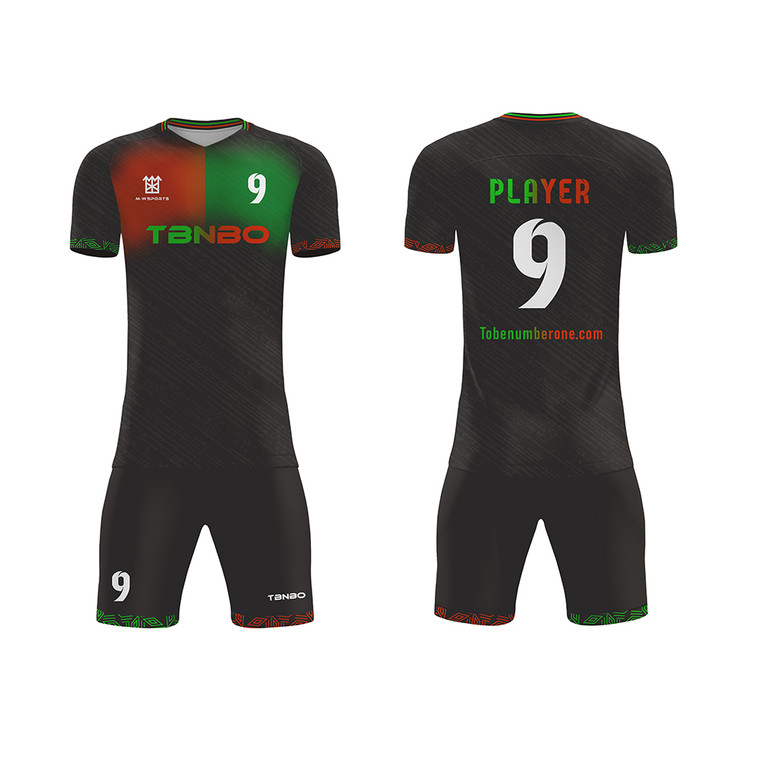 Patchwork Black Color custom soccer jerseys Input your name and number plus size