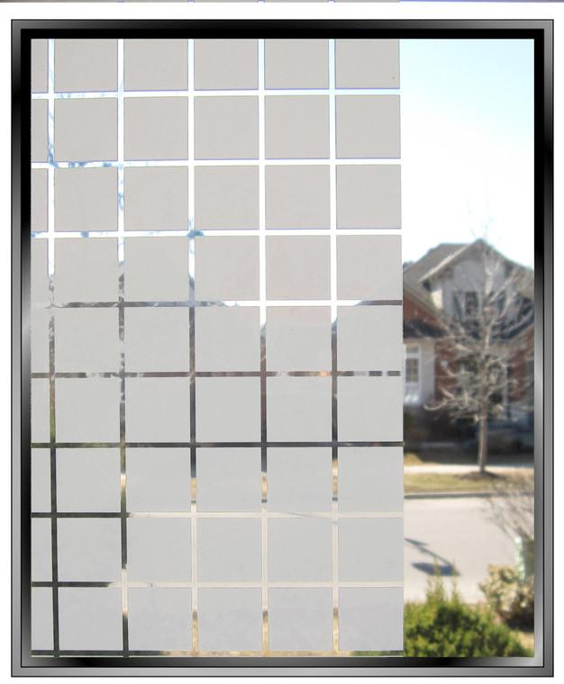 """Geometric - Apex 1 3/8"""" White Squares - DIY Decorative Window Film"""