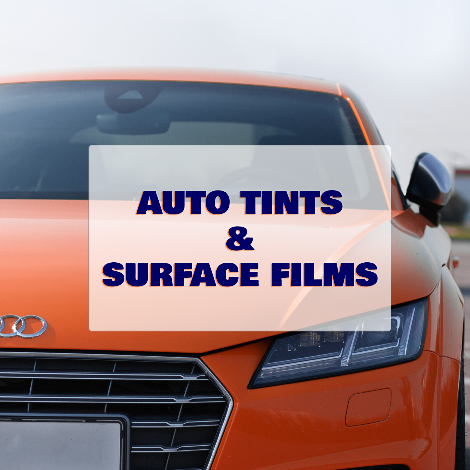 automotive window tint category header with photo of orange car with tinted windows