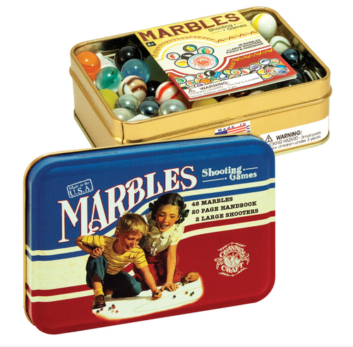 Marbles in a Classic Toy Tin