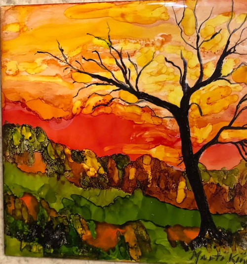Painting with Marti, Sunset on Tile July 18 @ 2:00pm