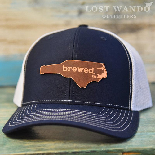 NC Brewed Etched Leather Patch - Navy/White