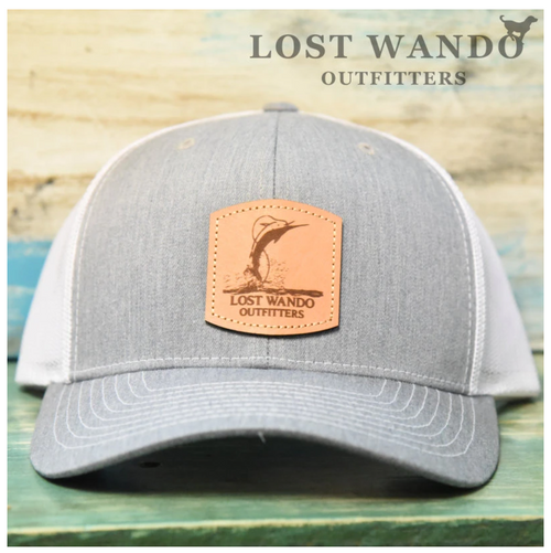 Air Marlin Leather Patch Hat Heather Grey/White