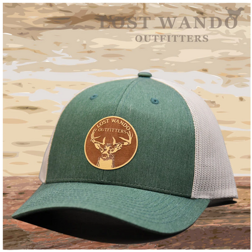 Buck Leather Patch Green-Light Grey