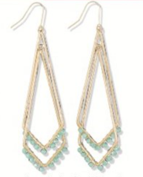 Gold with Mint Beads Earrings