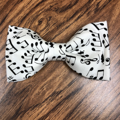 Adult Bowtie - White and Black Music Notes