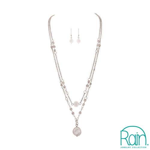 Double Freshwater Pearl High/Lo Necklace with Pearl Drop Earrings
