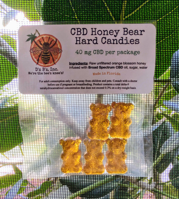 Hard candy bears made from CBD infused raw, unfiltered orange blossom honey. Each package contains 5 bears with 8 mg Broad Spectrum (no THC) CBD per bear.