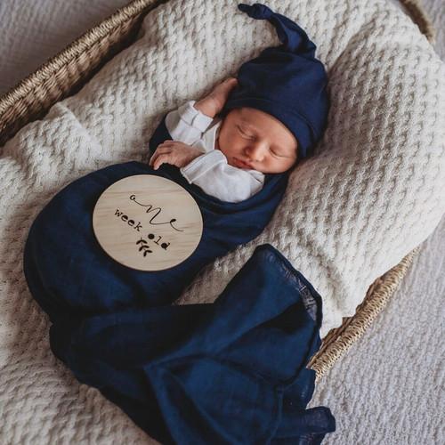 Snuggle Hunny Kids - Navy Organic Muslin Wrap