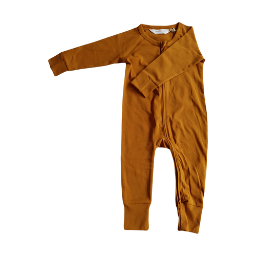 SUSUKOSHI - Zip Growsuit Long Sleeve - Brass