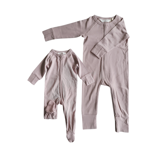 SUSUKOSHI - Zip Growsuit Long Sleeve - Blush