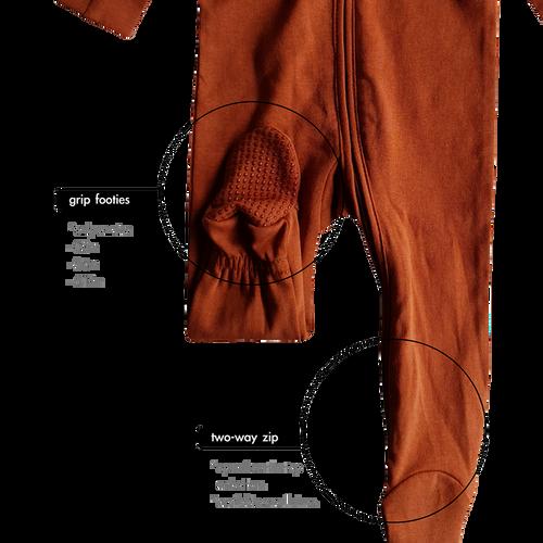SUSUKOSHI - Zip Growsuit Long Sleeve - Rust