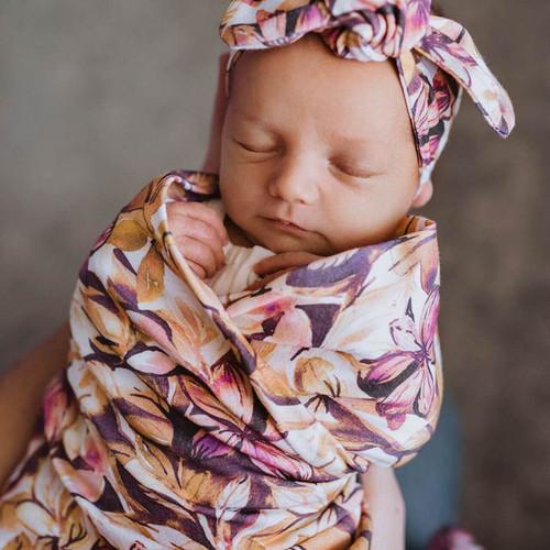 Snuggle Hunny Kids - Leilani Baby Jersey Wrap & Topknot Set