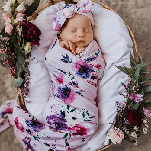 Snuggle Hunny Kids - Floral Kiss Baby Jersey Wrap & Topknot Set