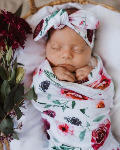 Snuggle Hunny Kids - Peony Bloom Baby Jersey Wrap & Topknot Set