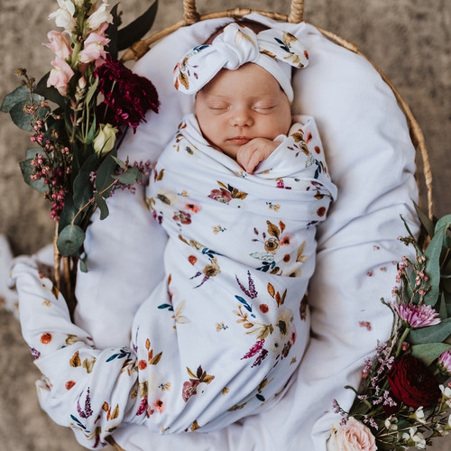 Snuggle Hunny Kids - Boho Baby Jersey Wrap & Topknot Set