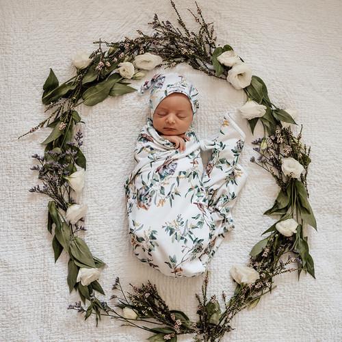 Snuggle Hunny Kids - Eucalypt Baby Jersey Wrap & Beanie Set