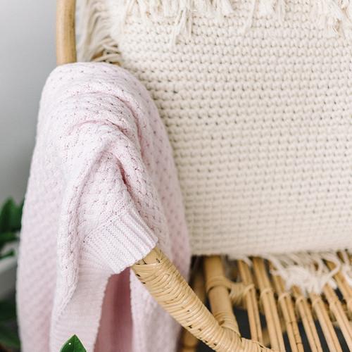 Snuggle Hunny Kids - Blush Pink | Diamond Knit Baby Blanket