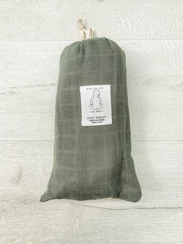 Pop Ya Tot - Soft Moss Muslin Cot Sheet