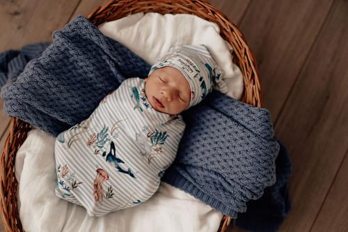 Snuggle Hunny Kids - Whale Snuggle Swaddle & Beanie Set