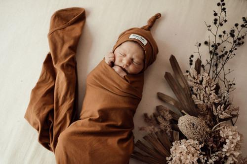 Snuggle Hunny Kids - Bronze Baby Jersey Wrap & Beanie Set